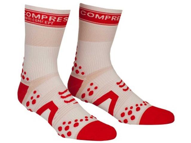 Compressport Racing V2 Bike Calze alte, white/red